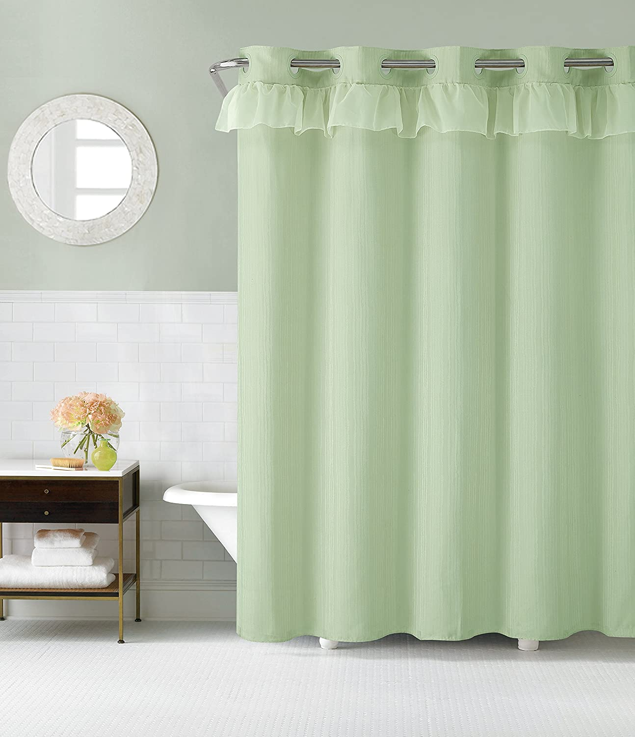 Hookless RBH29FC107 Waterfall Shower Curtain with PEVA Liner - Sage