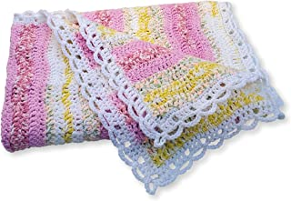 Pink and White Crochet Baby Blanket