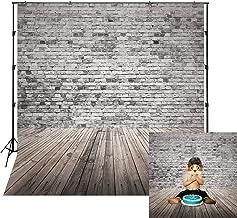 LB Gray Brick Wall Backdrop Vintage Wooden Floor Photo Backdrop 8x8ft Vinyl Wedding Party Newborn Baby Shower Kids Birthday Party Portraits Photo Booth Backdrop
