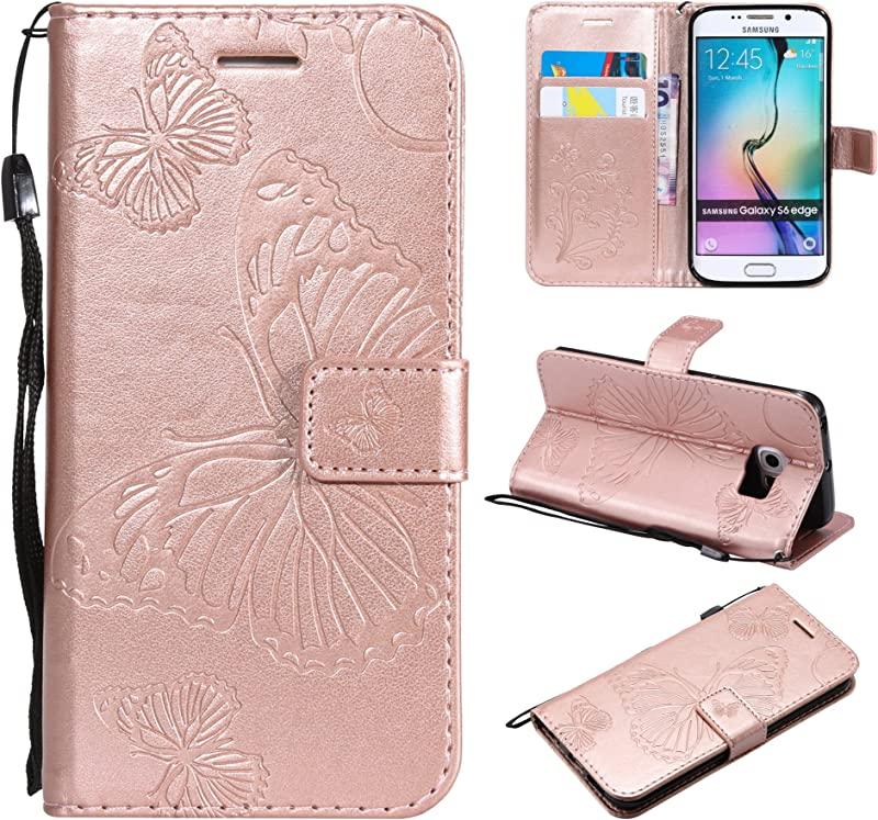 Amocase Wallet Leather Case With 2 In 1 Stylus For Samsung Galaxy S6 Edge Premium Strap 3D Butterfly Magnetic PU Leather Stand Shockproof Card Slot Case For Samsung Galaxy S6 Edge Rose Gold
