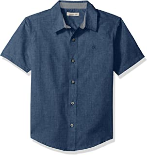 Calvin Klein Boys' Horizontal Chambray Short Sleeve Shirt