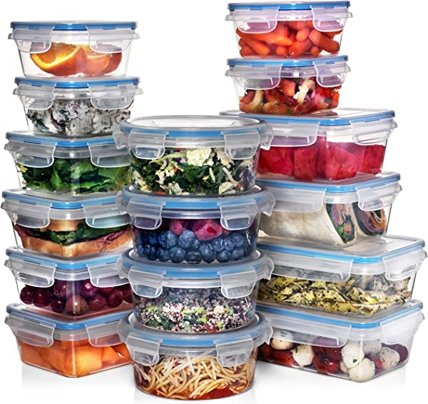 Shazo 16 Pack Food Storage Containers With Lids Plastic Food Containers With Lids Airtight Leak Proof Easy Snap Lock Lunch Box BPA Free Plastic Storage Container Set 27 Labels Marker