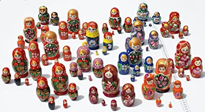 Lot 3 Sets of 5 Cute Nesting Stacking Wooden Dolls Matryoshka Babushka Russian Ethnic Art by C2A Enterprise