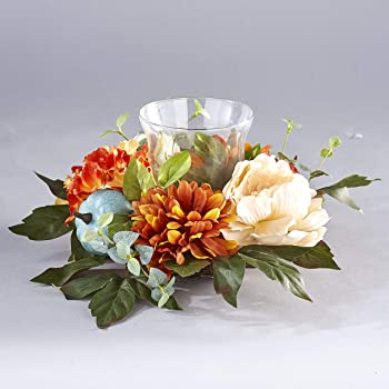 The Lakeside Collection Harvest Glass Candle Holder with Fall Flowers, Artificial Pumpkins