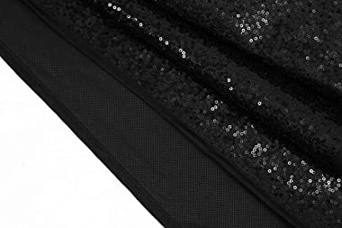 Valorcielo Sequin Christmas Tree Skirt Double Layers Tree Mat Sparkly Glittery Xmas Tree Supplies Holiday Decor (Black, 48 In