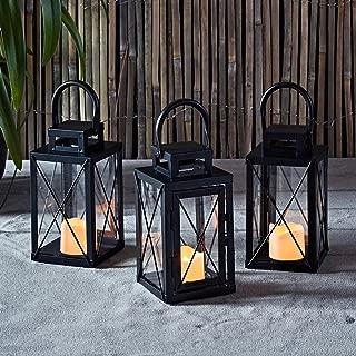 Lights4fun, Inc. Set of 3 Matte Black Metal Battery Operated LED Flameless Candle Lanterns