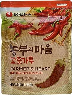 """Nong Shim Farmer""""s Heart Red Chili Pepper Powder - Rotes Paprikapulver zum Würzen zahlreicher Gerichte - 1 x 500g in einer wiederverschließbaren Verpackung"""