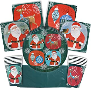 THE TWIDDLERS Christmas Party Supply | Serves 15 Guests | Christmas Napkins Paper Plates and Tablecloth Tableware Set | Holiday Party Supplies | Christmas Plates Set