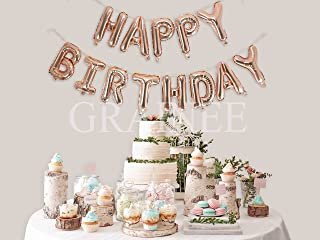 Grainee Happy Birthday Balloons, Mylar Aluminum Foil Banner Balloons for Birthday Party Decorations and Supplies (Rose Gold)