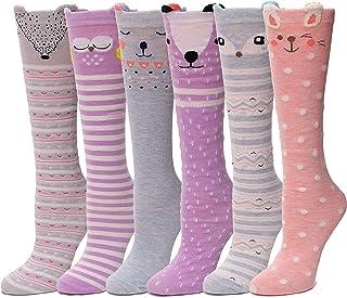 Girls Knee High Socks Cute Animal Pattern Novelty Funny Socks For Kids 6 Pairs