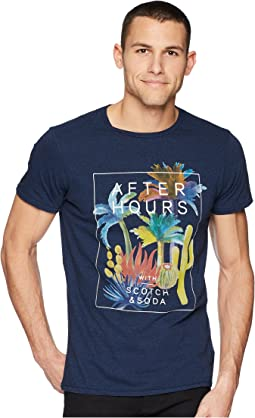Scotch & Soda - Tee in Melange Jersey Quality with Big Chest Artwork