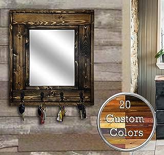 Millwood Mirror with Hooks – Customize With Up To 5 Single Hooks – Shown In Dark Walnut – Rustic Decor – Decorative Mirror - Hanging Hooks - Coat Hooks - Key Hooks - Hat Hooks
