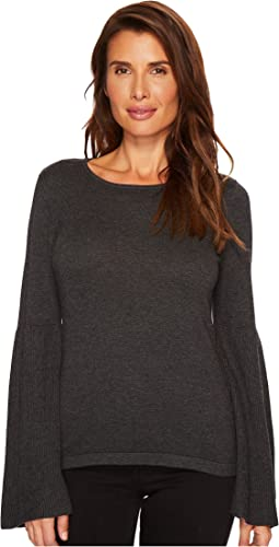 Ribbed Bell Sleeve Crew Neck Sweater