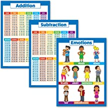 "3 Pack - Addition + Subtraction Math Poster Set + Emotion Chart for Kids (Laminated, 18"" x 24"")"