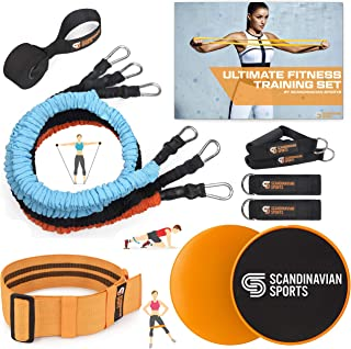 Scandinavian Sports Exercise Bands Set Fabric – Resistance Tubes, Dual Sided Core Sliders, Adjustable Resistance Hip Band and Exercise Folder – for Fitness Training and Full Body Workout
