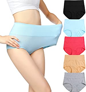 Womens High Waist Cotton Panties C Section Recovery Postpartum Soft Stretchy Full Coverage Underwear(5 Pack)