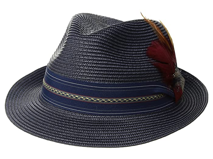 Stacy Adams Poly Braid Pinch Front Fedora with Fancy Band (Navy) Caps
