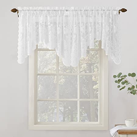 1PC Lace Floral Curtains Hollow Out Ball Trim Home Modern Cabinet Decor Valance