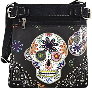 Sugar Skull Day of the Dead Cross Body Handbags Concealed Carry Purses Country Women Single Shoulder Bags