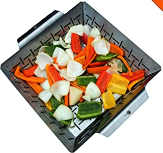 Cave Tools Vegetable Grill Basket - Dishwasher Safe Stainless Steel - Large Non Stick BBQ Grid Pan for Veggies Meat Fish S...