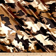 Ben Textiles 0448821 Charmeuse Satin Camo Brown Fabric by the Yard
