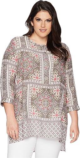 Plus Size 1574 Scarf Print Tunic