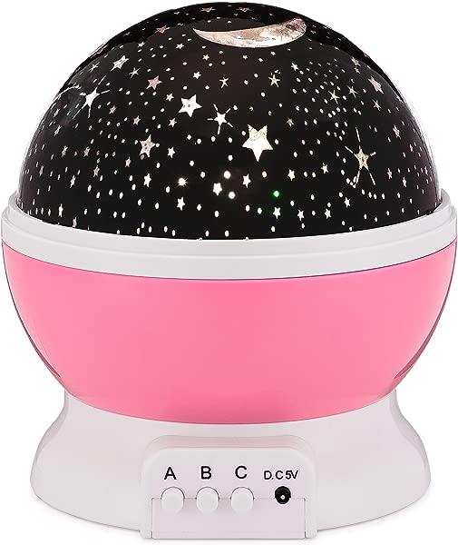 香蕉婴儿月亮星光投影仪 4 种 LED 颜色 8 种模式星空 360 旋转投影夜灯适合婴儿儿童男孩和女孩卧室粉色