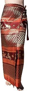 RaanPahMuang Brand Full Star Line Motif Thailand Silk Wrap Skirt Thai Formal Sarong