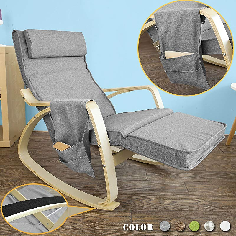 Haotian FST18 DG Comfortable Relax Rocking Chair Lounge Chair Recliners With Adjustable Footrest Side Pocket