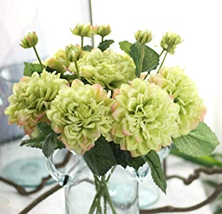 Furnily 5 Stems Artificial Flowers Blossom Dahlias Silk Flowers Bridal Bouquet for Wedding Party Home Decoration(Green)