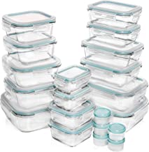 Razab 30 Piece (15 containers,15 lids) Glass Food Storage or Lunch Box Containers w/Airtight Lids - Microwave/Oven/Freezer & Dishwasher Safe, BPA/PVC Free - 5 BONUS Plastic Containers for Condiments