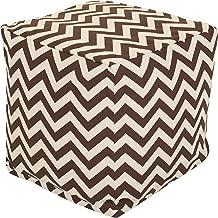 Majestic Home Goods Chocolate Chevron Indoor/Outdoor Bean Bag Ottoman Pouf Cube 17