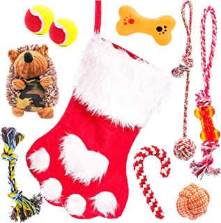 Dog Christmas Stocking Filled with Christmas Dog Toys Give your Puppy The Best PET Stocking Stuffers for Dogs and puppies interactive balls TUG toy Dog Rope Toy Plush Dog Squeak Toy