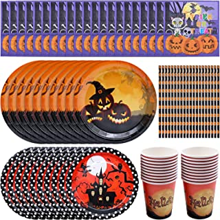 Halloween Disposable Dinnerware Set, Paper Tableware Halloween Party Supplies with Paper Plates, Paper Cups, Napkins, Stra...