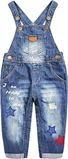 KIDSCOOL SPACE Baby&Little Girls Snap Legs Easy Diaper Changing Stars Embroidered Denim Overalls