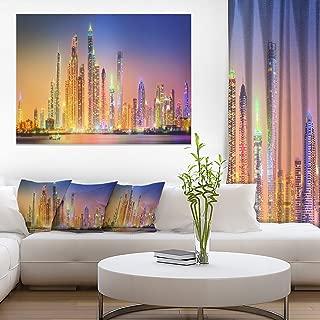 Dubai Marina Skyscrapers Panorama Cityscape Canvas Print Art