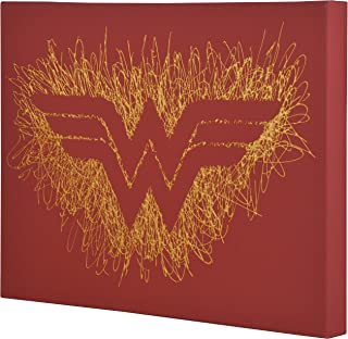 Edge Home Products Wonder Woman Logo Paint Splatter Canvas 16 by 20 2 Inch Depth Size