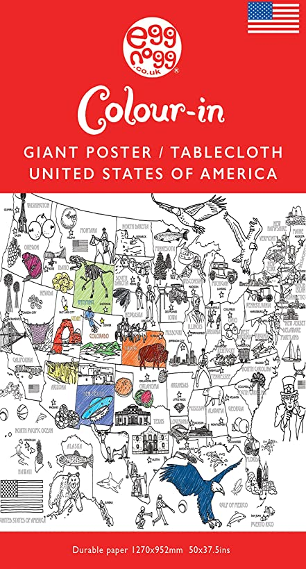 EggNogg Colour-in Durable White Paper Tablecloth 37.5-Inch by 50-Inch, USA, 2 Tablecloths