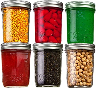 Premier Chef Ball Mason Jars (8 oz/Capacity) [6 Pack] with Airtight lids and Bands. For Canning, Fermenting, Pickling, Dec...