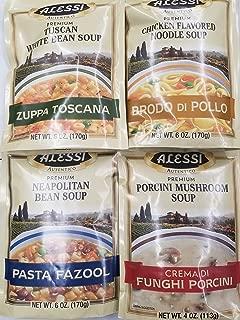 Alessi Athentic Italian Soup Mix 4 Flavor Variety Bundle: (1) Tuscan White Bean Soup, (1) Chicken Flavored Noodle Soup, (1) Porcini Mushroom Soup, and (1) Neapolitan Bean Soup, 4-6 Oz Ea