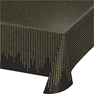 غطاء طاولة بلاستيكي بتصميم جليتز و جلام من كرياتيف كونفيرتينغ، طول 102 انش × عرض 54 انش، لون اسود-ابيض