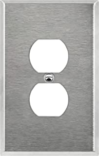 ENERLITES Duplex Receptacle Outlet Metal Wall Plate, Corrosive Resistant, Over Size 1-Gang 5.5