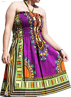 Smock Bust Open Shoulder Dashiki Colour Halter Strap Dress or Skirt