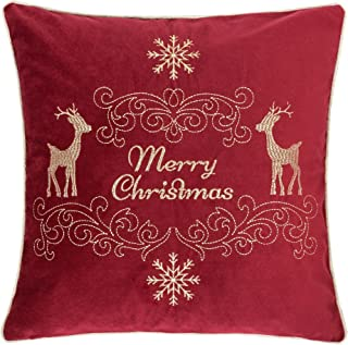 Homey Cozy Embroidery Red Velvet Throw Pillow Cover, Merry Christmas Series Holiday Theme Luxury Soft Fuzzy Cozy Warm Slik Gift Square Couch Cushion Pillow Case 20 x 20 Inch, Cover Only