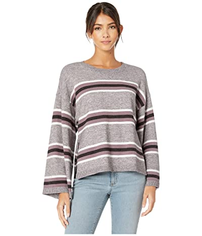 Cupcakes and Cashmere Amour Striped Pullover with Side Slits (Heather Grey) Women