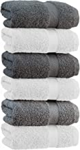 White Classic Luxury Hand Towels | Cotton Hotel spa Bathroom Towel | 16x30 | 6 Pack | 3-Grey /3-White