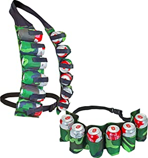 12 Pack Can Holster Vest & 6 Pack Belt, Camo - Fairly Odd Novelties - Funny BBQ Tailgate Party Gag Gift Set