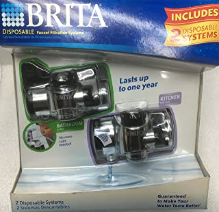Brita 2 Disposable Faucet Filtration Systems for Kitchen (CKFF-100) and Bathroom (CBFF-100)