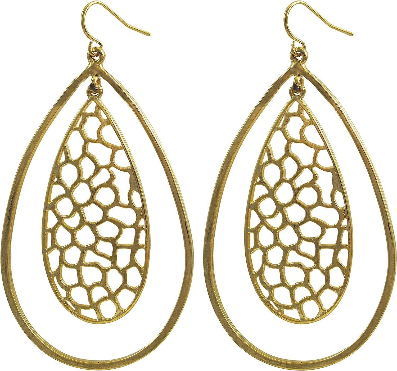 GRACE HARPER Gold Finish Filigree Floating Teardrop Earrings
