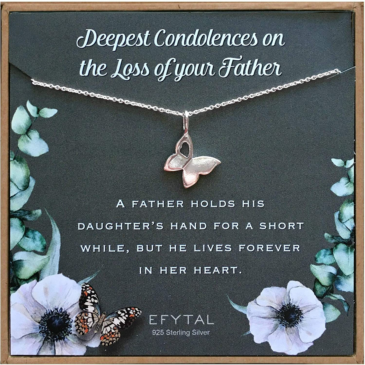 EFYTAL Condolence Gifts Cash special price 925 Silver Max 85% OFF Butterfly Sterling Necklace